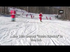Watch: Skiing Santas hit slopes in U.S.