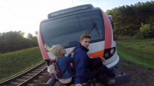 Extreme Couple Go Trainsurfing Together