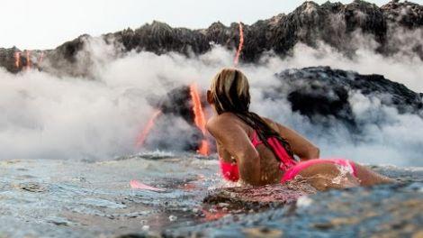 Alison Teal Tries Surfing Hawaii Volcano Eruption